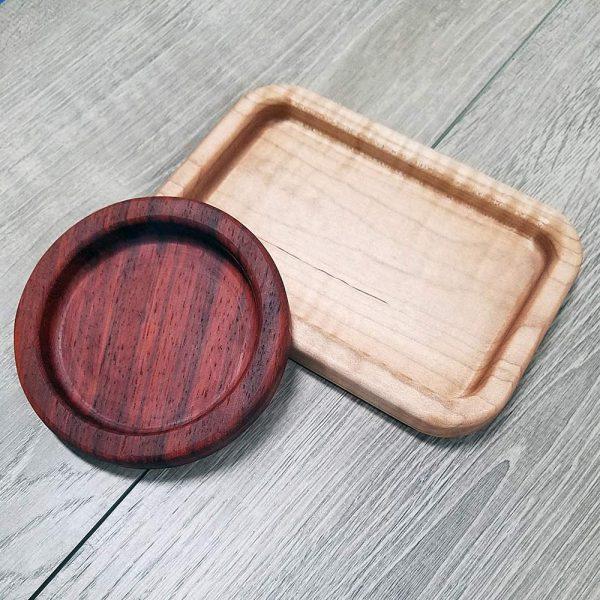 padauk and maple trinket trays
