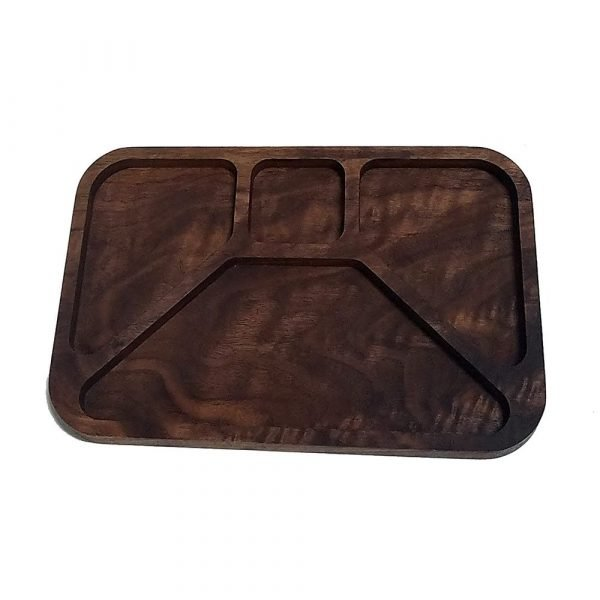 TV Dinner Inspired Cheese Tray in Walnut- empty