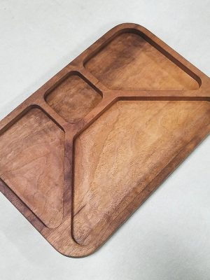 TV Dinner Inspired Cheese Tray in Walnut- Perspective