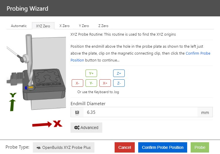 How to initiate probing wizard via keyboard shortcut in OpenBuilds Control